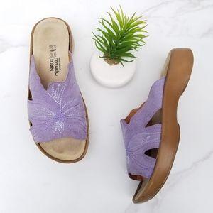 Naot Sandal Slides Purple Leather Flower Strap